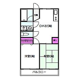 Osaka Metro今里筋線 新森古市駅 徒歩3分の賃貸マンション 4階2DKの間取り