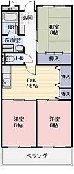 愛知県岩倉市大市場町の賃貸マンションの間取り