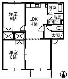 アンソレイエ・メゾン B[1階]の間取り