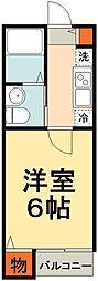 JR総武線 船橋駅 徒歩13分の賃貸アパート 1階1Kの間取り