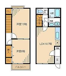 JR五日市線 秋川駅 徒歩17分の賃貸テラスハウス 1階2LDKの間取り