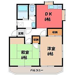 栃木県宇都宮市陽東3丁目の賃貸アパートの間取り