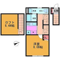 (仮称)ベリエ平井 2階1Kの間取り