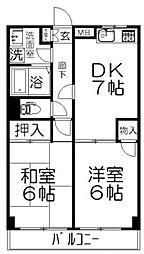 東武野田線 大和田駅 徒歩5分の賃貸マンション 2階2DKの間取り