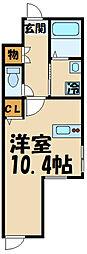 京王線 千歳烏山駅 徒歩5分の賃貸アパート 1階ワンルームの間取り