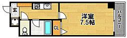 阪急京都本線 相川駅 徒歩4分の賃貸マンション 4階1Kの間取り