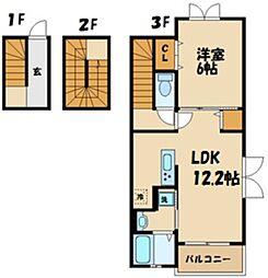JR南武線 稲城長沼駅 徒歩8分の賃貸アパート 3階1LDKの間取り