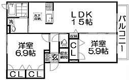 シャーメゾン高倉 1階2LDKの間取り