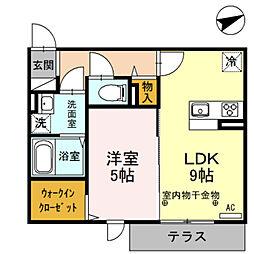 光レジデンス A棟 2階1LDKの間取り
