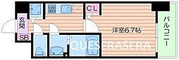 Osaka Metro谷町線 阿倍野駅 徒歩9分の賃貸マンション 4階1Kの間取り