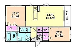大阪府豊中市熊野町4丁目の賃貸アパートの間取り