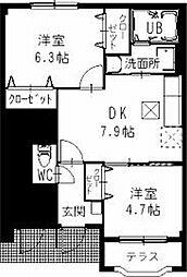 静岡県袋井市愛野東1丁目の賃貸アパートの間取り