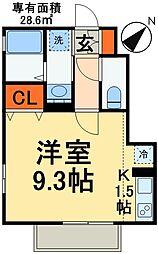 JR総武線 稲毛駅 バス24分 草野車庫下車 徒歩7分の賃貸アパート 1階1Kの間取り
