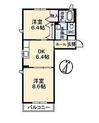 メイフラワー A[2階]の間取り