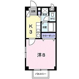 愛知県豊橋市牟呂町字郷社西の賃貸アパートの間取り