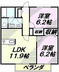 東京都八王子市叶谷町の賃貸アパートの間取り