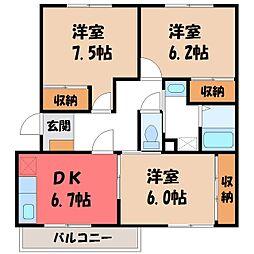 栃木県宇都宮市戸祭3の賃貸マンションの間取り