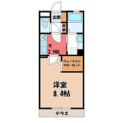 茨城県古河市東3丁目の賃貸アパートの間取り