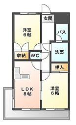 愛知県岡崎市欠町字足延の賃貸マンションの間取り