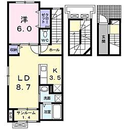 富山県富山市新庄北町の賃貸アパートの間取り