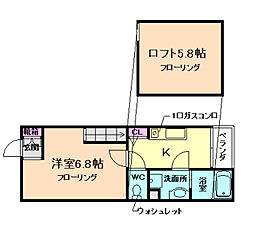 大阪府箕面市箕面2丁目の賃貸アパートの間取り