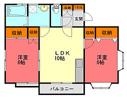 神奈川県平塚市黒部丘の賃貸アパートの間取り