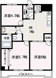 埼玉県新座市東北2丁目の賃貸マンションの間取り