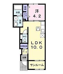 モダン・サニー・レジデンス2 1階1LDKの間取り