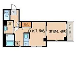 JR山手線 目黒駅 徒歩9分の賃貸マンション 2階1DKの間取り