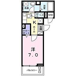 NISHIKAWA 3階1Kの間取り