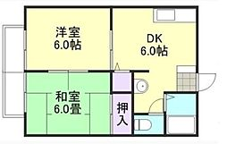 ラクシュリーマンション B[203号室]の間取り