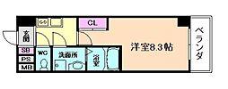 阪急宝塚本線 十三駅 徒歩5分の賃貸マンション 10階1Kの間取り
