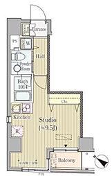 東京メトロ日比谷線 人形町駅 徒歩2分の賃貸マンション 5階ワンルームの間取り