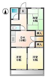 愛知県名古屋市名東区上社3丁目の賃貸マンションの間取り