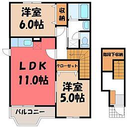 栃木県真岡市島の賃貸アパートの間取り