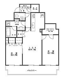 サンクタス川崎タワー 11階2SLDKの間取り