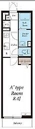 東武東上線 川越駅 徒歩16分の賃貸アパート 1階1Kの間取り