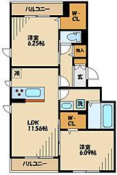 仮)D-room長峰A棟 1階2LDKの間取り