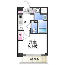 近鉄南大阪線 北田辺駅 徒歩7分の賃貸マンション 7階1Kの間取り