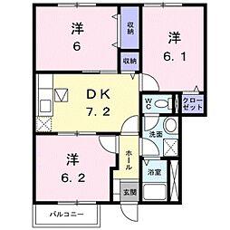 愛知県豊川市野口町道下の賃貸アパートの間取り