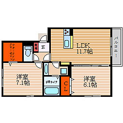 滋賀県彦根市馬場1丁目の賃貸アパートの間取り