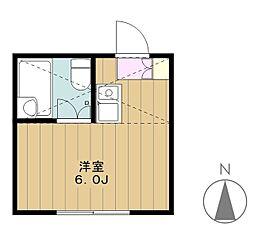 東京都多摩市関戸5丁目の賃貸アパートの間取り