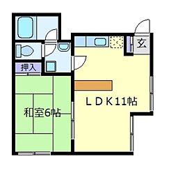 MライフパートII[3階]の間取り