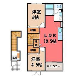 栃木県さくら市上阿久津の賃貸アパートの間取り