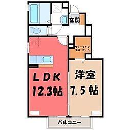 栃木県宇都宮市雀の宮2丁目の賃貸アパートの間取り