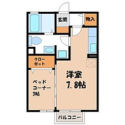 栃木県さくら市卯の里1丁目の賃貸アパートの間取り