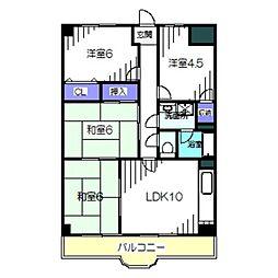Osaka Metro御堂筋線 北花田駅 徒歩8分の賃貸マンション 2階4LDKの間取り