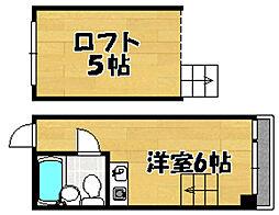 阪急京都本線 上新庄駅 徒歩18分の賃貸マンション 4階ワンルームの間取り