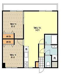 シャルマン 3階2LDKの間取り