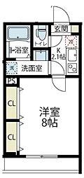JR南武線 久地駅 徒歩8分の賃貸アパート 1階1Kの間取り